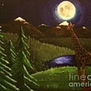 Giraffe In The Moonlight Poster