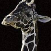 Giraffe In The Morning Pixelated Poster