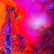 Giraffe In The Universe - Abstract Painting Poster