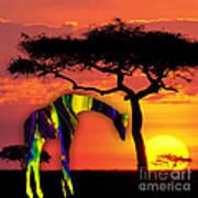 Giraffe Painting Poster