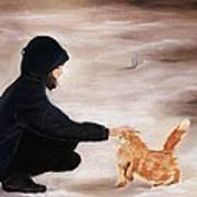 Girl And A Cat Poster