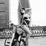 Girl And Harley-davidson Poster