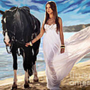 Girl And Horse On Beach Poster