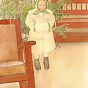Girl And Rocking Chair Poster
