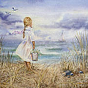 Girl At The Ocean Poster