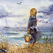 Girl And The Ocean Poster