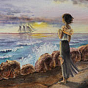 Girl And The Ocean Sailing Ship Poster