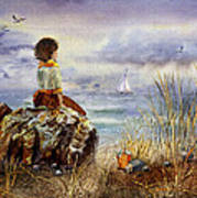 Girl And The Ocean Sitting On The Rock Poster