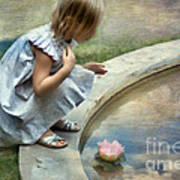 Girl At The Pond Poster