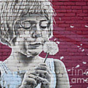 Girl Blowing A Dandelion Poster