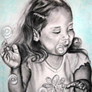 Girl Blowing Bubbles Poster