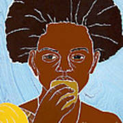 Girl Eating Mango Poster by Martha Rucker