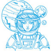 Girl In A Spacesuit For T-shirt Design Poster