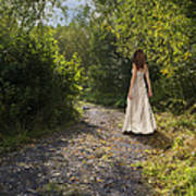 Girl In Country Lane Poster