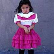 Girl In Pink Dress Poster