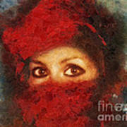 Girl In Red Turban Poster