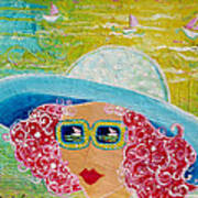 Girl In Sun Hat Poster