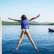 Girl Jumps In The Lake Poster