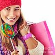 Girl Lick Sweets And Holding Pink Bag Poster