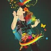 Girl Making Soap Bubbles,rainbow And Poster