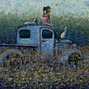 Girl On A Truck Poster by Ned Shuchter