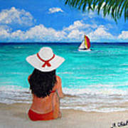 Girl On A Turquoise Beach Poster