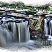 Girl On Rock At Falls Poster by Dan Friend