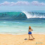 Girl On Surfer Beach Poster