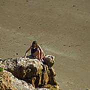 Girl On The Rocks - Compton Bay Poster