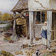 Girl Outside A Cottage Poster