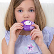 Girl Using Asthma Medication Poster