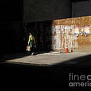 Girl Walking Into Shadow - New York City Street Scene Poster