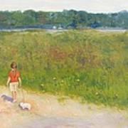 Girl Walking Dog Poster