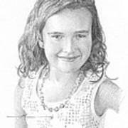 Girl With Necklace Pencil Portrait Poster