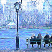 Girls At Pond In Central Park Poster