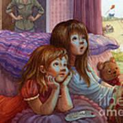 Girls Staring At Tv Poster by Isabella Kung
