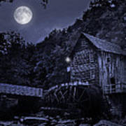 Glade Creek Grist Mill At Night Poster