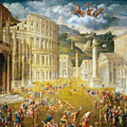 Gladiators Fighting Poster