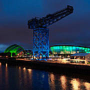 Glasgow - River Clyde At Night Poster