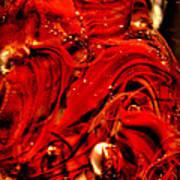 Glass Macro Abstract Crimson Swirls Poster