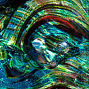 Glass Macro - Blue Green Swirls Poster