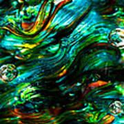 Glass Macro - Greens And Blues Poster