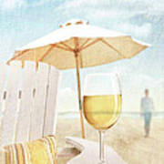 Glass Of  Wine On Adirondack Chair At The Beach Poster by Sandra Cunningham