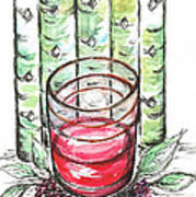 Glass Rosy Wine Poster