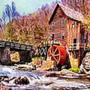 Glen Creek Grist Mill Painting Poster
