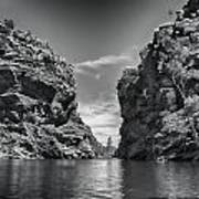Glen Helen Gorge-outback Central Australia Black And White Poster
