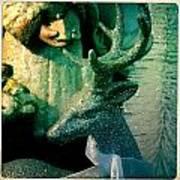 Glittered Deer Poster
