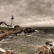 Gloomy Day At The Portland Head Light Poster