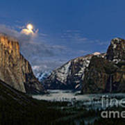 Glow - Moonrise Over Yosemite National Park. Poster