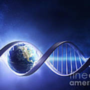 Glowing Earth Dna Strand Poster